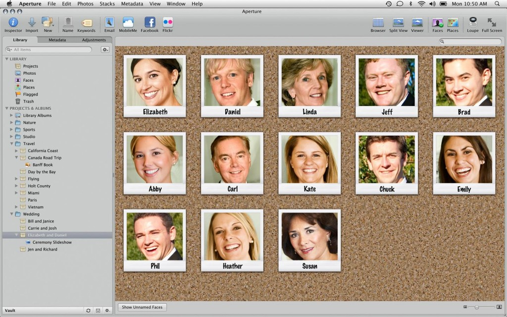 With Aperture Faces option you can organize your friends, family and people on your photos