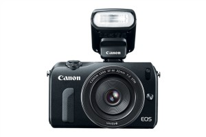 Canon EOS M with Speedlite 90EX attached